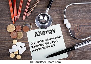 allergy., arbejdspladsen, i, en, doktor., stetoskop, på, træagtigt skrivebord, baggrund
