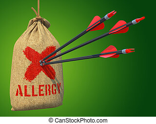 Allergy - Three Arrows Hit in Red Mark Target on a Hanging Sack on Grey Background.
