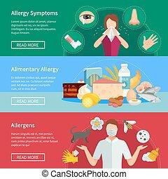 Allergy Flat Concept. Allergy Horizontal Banners. Allergy Vector Illustration. Allergy Isolated Set. Allergy Design Symbols.