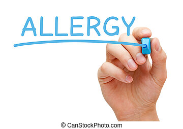 Allergy Blue Marker - Hand writing Allergy with blue marker...