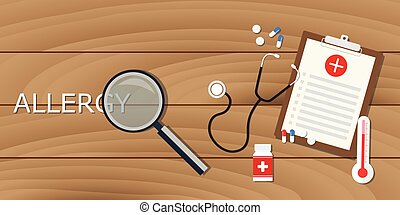 allergy concept with magnifying glass and medical record...