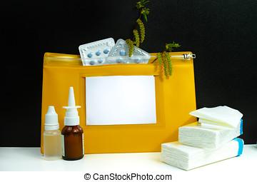 Allergy relief concept, seasonal pollen allergy, medication...