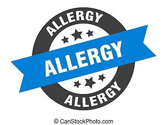 allergy sign. round ribbon sticker. isolated tag