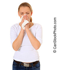 Allergy - Attractive blonde woman using tissue. All on white...