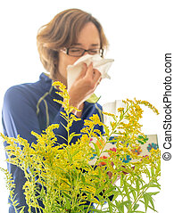 Allergy Sufferer - A women suffering from seasonal...