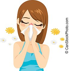 Allergy Suffering Woman - Young sick woman ill suffering...