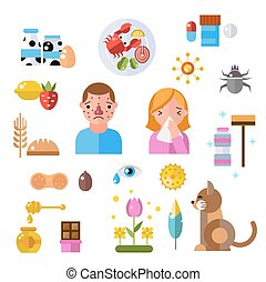 Allergy symbols and people disease information vector symbols
