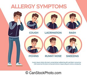 Allergy symptoms. Healthcare problems sickness symptom. ...
