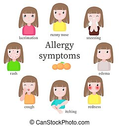 Allergy symptoms, vector flat style design isolated ...