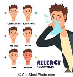 Allergy symptoms vector illustration - cartoon medical ...