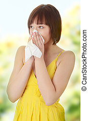 Allergy - Teen woman with allergy