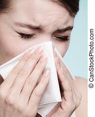 allergy., tissue., φταρνίζομαι , γρίπη , υγεία , άρρωστος ,...