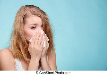 allergy., tissue., くしゃみをする, インフルエンザ, 健康, 病気, 女の子