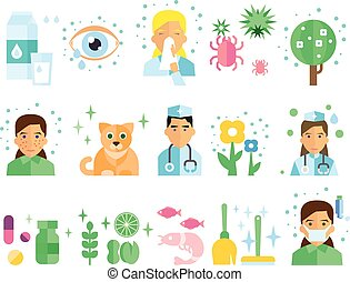 Allergy Vector Illustration Set. - Allergy icon Colourful ...