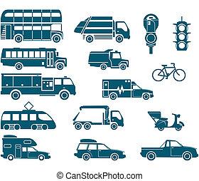 alles, arten, von, stadt, transport