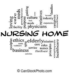 alles, begriff, wort, krankenpflege, schwarz, daheim, wolke