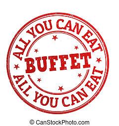 alles, briefmarke, büffet, buechse, sie, essen