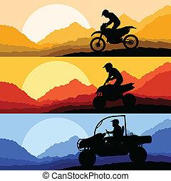 alles, buggy, terrein, duin, motorbikes, quad, voertuig, illust, passagiers