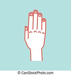 alles, connected., teken., stoppen, op, gesture., stylized, vingers, vector, attention., icon., hand