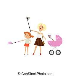 alles, dochter, maken, moeder, baby, kinderwagen, selfie