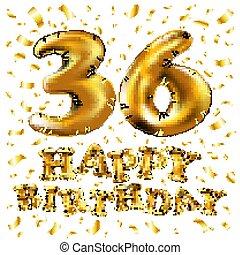 Alles Gute Geburtstag Jahrestag Karte 36th Bunte 36th Text