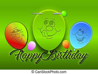 Alles Gute Zum Geburtstag, 3D Ballons und Gesichter