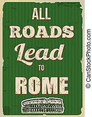 alles, lood, poster, rome, retro, wegen
