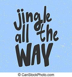 alles, spotprent, kerstmis, getrokken, jingle, vrolijke , jaar, vector, way., komisch, illustratie, lettering., hand, spandoek, nieuw