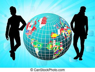 alles, vlaggen, in, globe, vorm