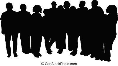 alles, vrienden, silhouette, vector, samen