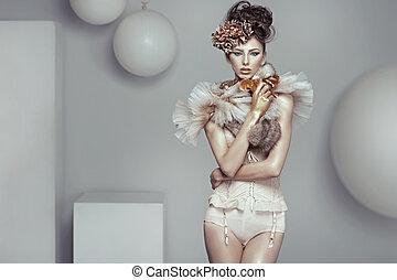 allettante, foto, stile, signora, fascino