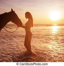 allettante, magro, signora, con, lei, majestick, cavallo, amico