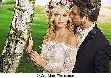 allettante, sposa, con, lei, marito