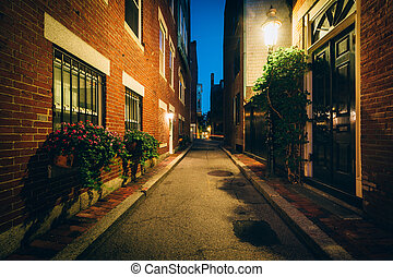 Alley and brick buildings at night, in Beacon Hill, Boston, Massachusetts.