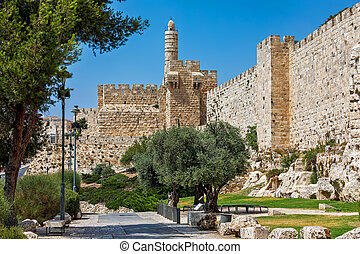 Alley and Tower of David in Jerusalem, Israel.