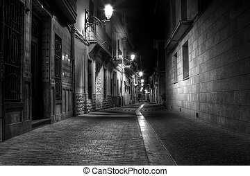 Alley at Night - A Narrow Street at Night in Europe