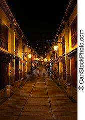 Alley at night.