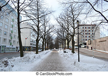 Alley in Kotka at winter