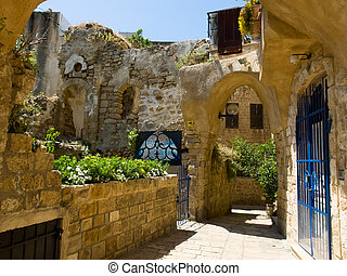 Alley in old Jaffo with house ruins, Israel