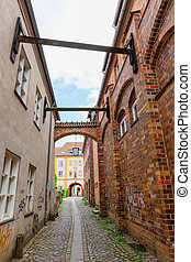 alley in the old town of Stralsund, Germany