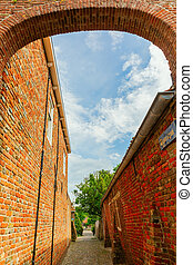alley in the old town of Veere, Netherlands
