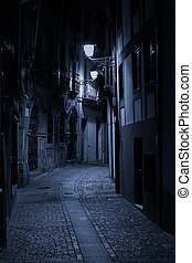 Alley - Night view of an alley of old Porto, Portugal