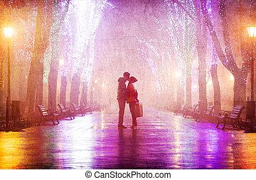 alley., pareja, noche, besar, maleta