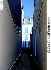 View of empty old alley, France, Normandy