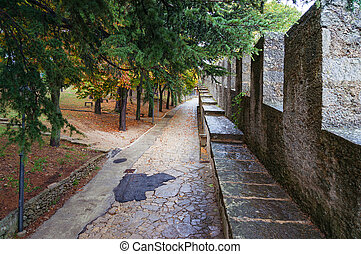 Alley walkway, path in autumn park