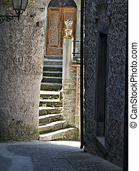 Alleyway and steps in Ancient village, Italy.