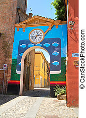 Alleyway. Dozza. Emilia-Romagna. Italy.