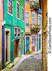Quaint alleyway scene in Porto, Portugal.