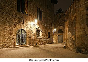 alleyways, バルセロナ, gothic, night., 四分の一, 空