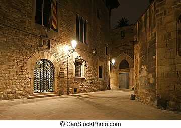 alleyways, barcelone, gothique, night., trimestre, vide